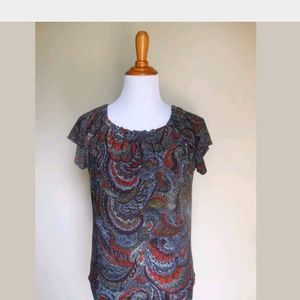 OUTBACK RED ~ SMALL PAISLEY PRINT STRETCH KNIT TOP